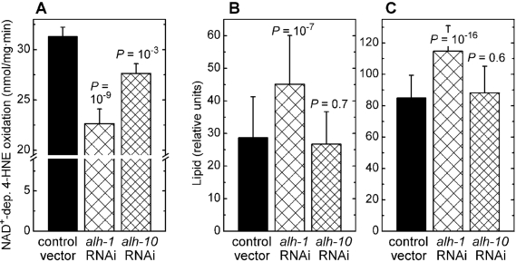 Effects of RNAi against aldehyde dehydro-genases alh-1 and alh-10