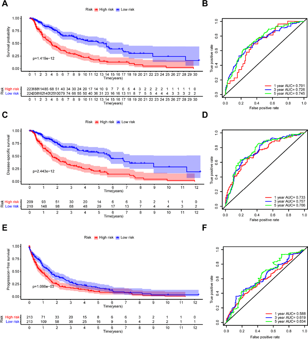 Kaplan–Meier survival analysis and time-dependent ROC analysis of the 7-gene prognostic signature in the TCGA dataset. Kaplan-Meier survival curves and ROC curves of (A, B) OS, (C, D) DSS, and (E, F) PFS in patients with melanoma.
