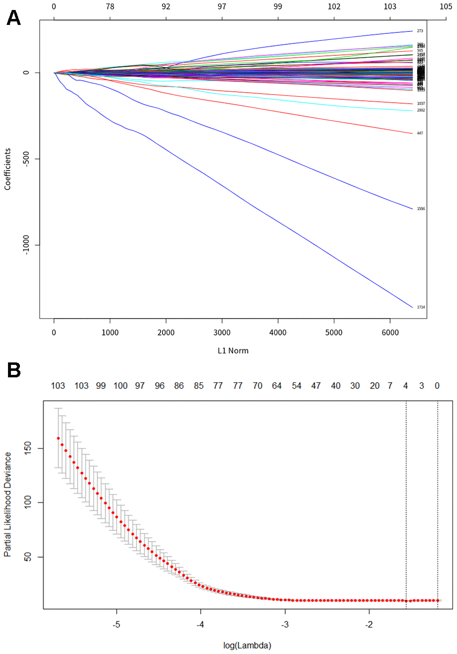 LASSO regression analysis to construct PDAC specific diagnosis model. (A) Least absolute shrinkage and selection operator (LASSO) coefficient profiles of differential methylation site. (B) Cross-validation for tuning parameter selection in the LASSO model, the two dotted vertical lines are drawn at the optimal values by lambda. min 0.06973033 and lambda.1se 0.2032676.