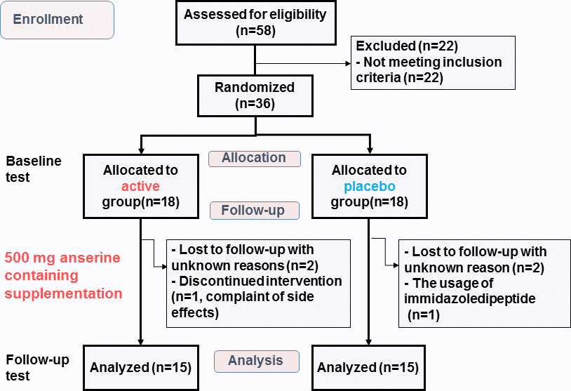 Flow diagram showing the number of subjects during the study. Baseline test: The test at the start of the intervention. Follow-up test: The test at twelve weeks after the start.